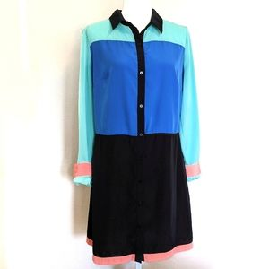 I Heart Ronson Longsleeve Colorblock Shirtdress: L
